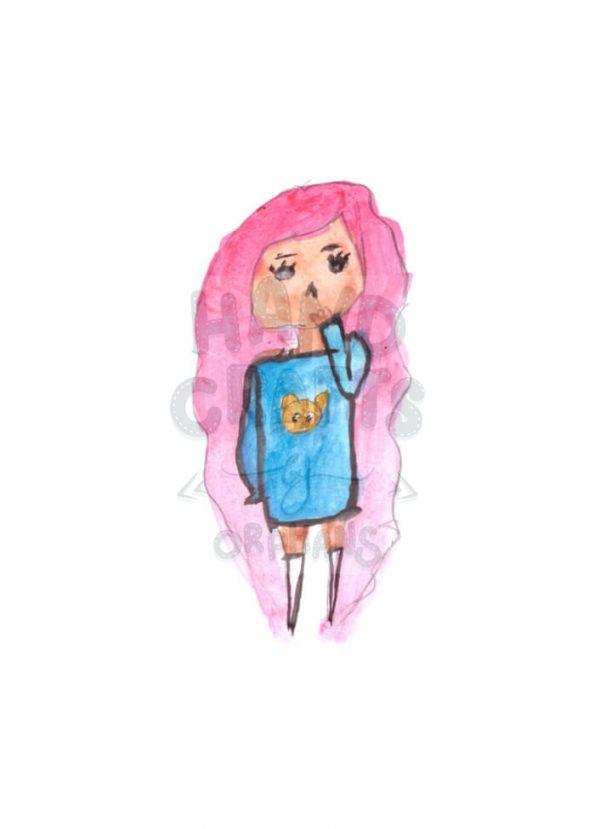 """Принт для нанесення """"Дівчина в рожевому настрої"""""""